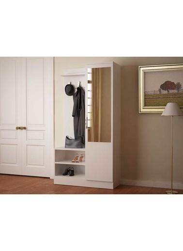 Dekorister Dafne Aynalı Ayakkabılık Portmanto Beyaz Renkli